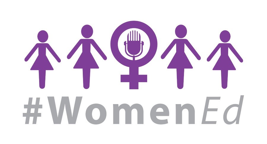 #WomenEd logo of women connected and a microphone